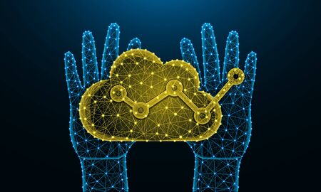 Human hands and cloud analytics low poly design, football, data analysis in polygonal style, graph wireframe vector illustration made from points and lines on dark blue background Reklamní fotografie - 129395351