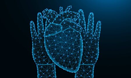 Hands and human heart low poly design, human organ in polygonal style, cardiology wireframe vector illustration made from points and lines on dark blue background