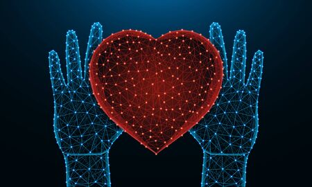 Human hands and a heart symbol low poly design, valentine in polygonal style, love wireframe vector illustration made from points and lines on dark blue background