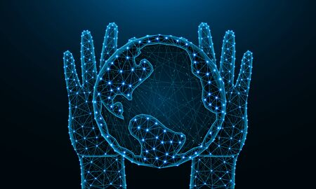 Hands and Earth low poly design, save the planet in polygonal style, future, nature and ecology of the earth wire frame vector illustration made from points and lines on dark blue background Ilustrace
