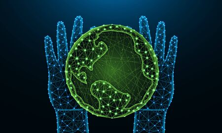 Hands and Earth low poly design, save the planet in polygonal style, future, nature and ecology of the earth wire frame vector illustration made from points and lines on dark blue background Reklamní fotografie - 129395367