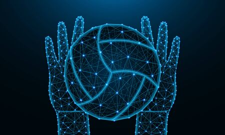 Hands and ball for playing volleyball low poly design, sports game in polygonal style, catch or throw the ball wireframe vector illustration made from points and lines on dark blue background