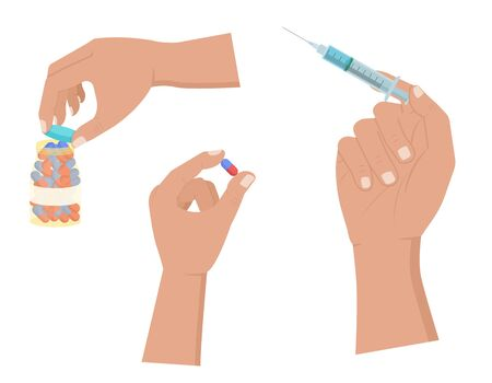 Hand holds pill and syringe, open pills bottle icon set on a white background. Vector illustration in a flat style. Ilustrace