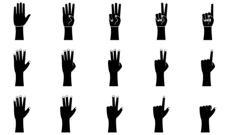 Hand gestures icons set in glyph style. Palm and wrist. One, two, three, four, five fingers vector illustration on a white background