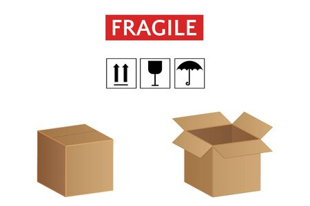 Cardboard boxes set of icons, fragile goods vector illustration Иллюстрация