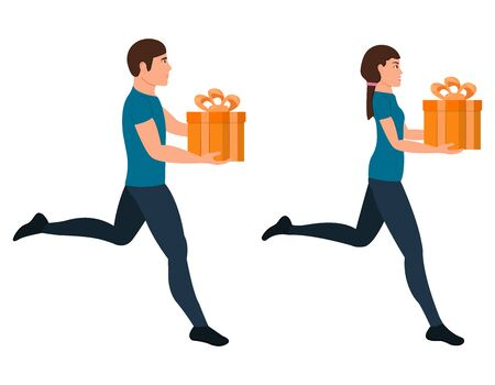Running guy and girl character in a flat style, man and woman and gift box vector illustration on a white background