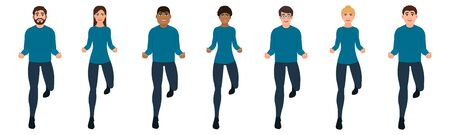 People jumping or running front view, happy characters icon set in cartoon style, vector illustration on white background