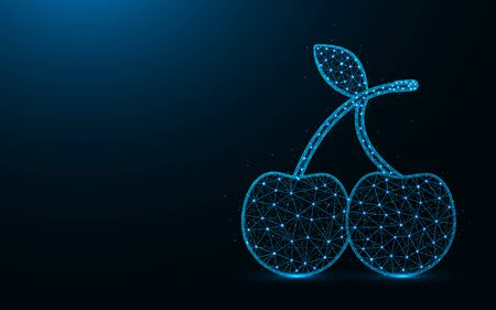 Cherries low poly design, fruit symbol abstract geometric image, berries wireframe mesh polygonal vector illustration made from points and lines on dark blue background Ilustrace