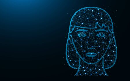 Girl head poly design, female face abstract geometric image, girl wireframe mesh polygonal vector illustration made from points and lines on dark blue background