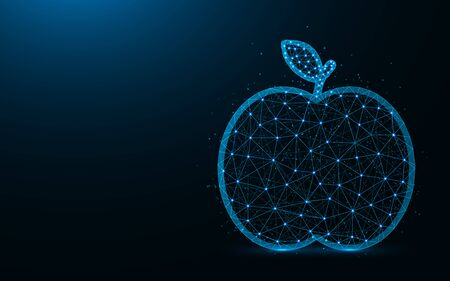 Apple low poly design, fruit abstract geometric image, food wireframe mesh polygonal vector illustration made from points and lines on dark blue background Ilustrace