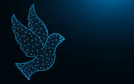 Bird low poly design, animal symbol abstract geometric image, dove wireframe mesh polygonal vector illustration made from points and lines on dark blue background