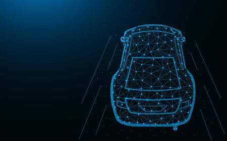 Car low poly design, transport abstract geometric image, fast driving wireframe mesh polygonal vector illustration made from points and lines on dark blue background