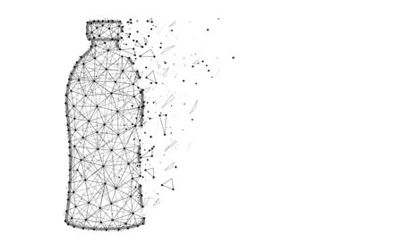 Bottle low poly design, drink abstract geometric image, plastic wireframe mesh polygonal vector illustration made from points and lines on white background Ilustrace