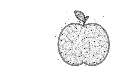 Apple low poly design, fruit abstract geometric image, food wireframe mesh polygonal vector illustration made from points and lines on white background