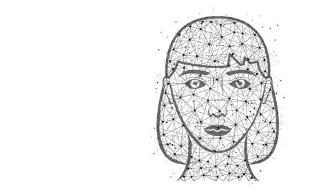 Girl head poly design, female face abstract geometric image, girl wireframe mesh polygonal vector illustration made from points and lines on white background Ilustrace