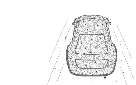 Car low poly design, transport abstract geometric image, fast driving wireframe mesh polygonal vector illustration made from points and lines on white background