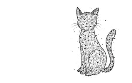 Cat low poly design, animal abstract geometric image, pet wireframe mesh polygonal vector illustration made from points and lines on white background Ilustrace