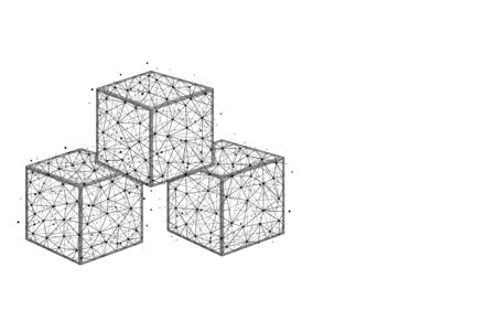 Cubes low poly design, sugar abstract geometric image, ice cube wireframe mesh polygonal vector illustration made from points and lines on white background Ilustrace