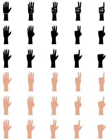 Hand gestures icons set in flat and glyph style. Palm and wrist. One, two, three, four, five fingers, count vector illustration on a white background