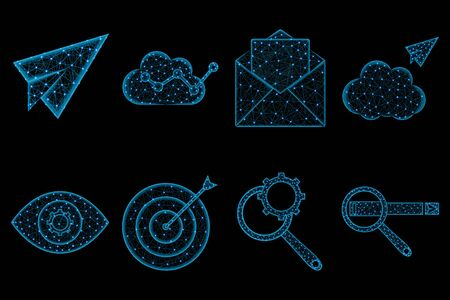 SEO polygonal icon set, envelope, paper plane, cloudy analytics, cloud sending, eye and gear, target, Magnifying glass and cogwheel, Web search vector illustration on black background