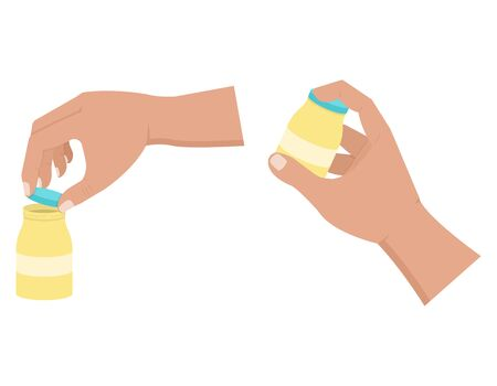 Hand opens and holds a bottle, taking medication vector illustration in a flat style