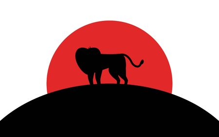 Lion icon, african animal, silhouette art image, vector illustration isolated on white background