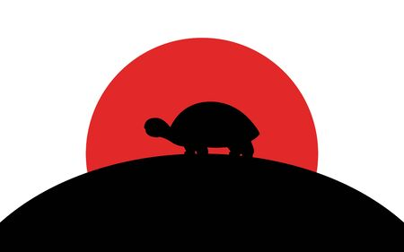 Spurred Tortoise icon, african animal, silhouette art image, vector illustration isolated on white background Ilustrace