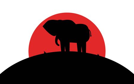 Elephant icon, african animal, silhouette art image, vector illustration isolated on white background Ilustrace