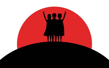 Children dressed in superhero costumes stand on a hill, sunset, silhouette art, vector illustration on a white background Reklamní fotografie - 129396309