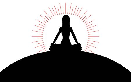 Woman sitting in lotus position on a hill, the suns rays of the sun, silhouette art image, vector illustration isolated on white background