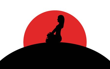 Girl sitting in lotus position on a hill, sunset, silhouette art image, vector illustration isolated on white background