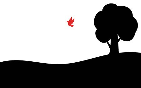 Red bird flies away from a tree, silhouette art image, vector illustration isolated on white background Reklamní fotografie - 129396548