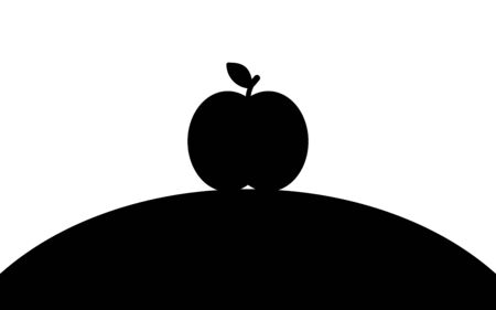 An apple lies on a hill, silhouette art image, vector illustration isolated on white background Ilustrace