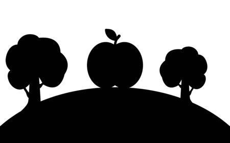 Apple and trees on a hill, silhouette art image, vector illustration isolated on white background Reklamní fotografie - 129396551