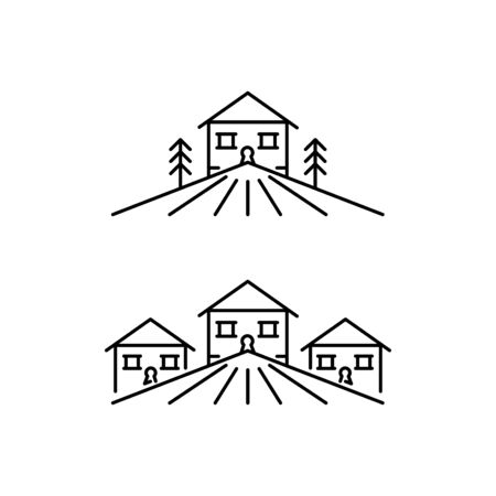 Houses in the mountains icons set in outline style, cottages buildings in the mountain range vector illustration isolated on white background