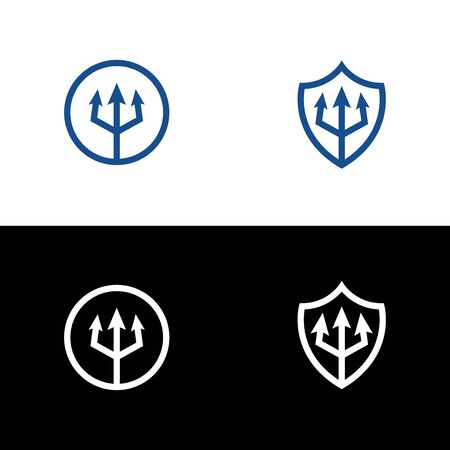 Circle and shield with trident icon in outline style on a white and black background. Ilustrace