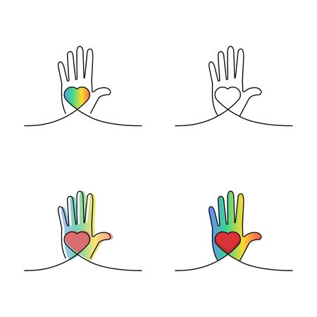 Hand on which a heart symbol is placed, an icon that characterizes love, care, charity towards others, vector illustration on a white background