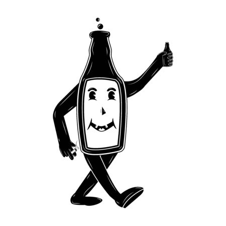 A running beer bottle holds beer in one hand and a cigarette in the other that smokes, happy drunkard cartoon character in retro style, vector illustration on a white background