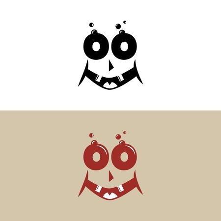 Monster happy face in retro style, smile vector illustration on white background.