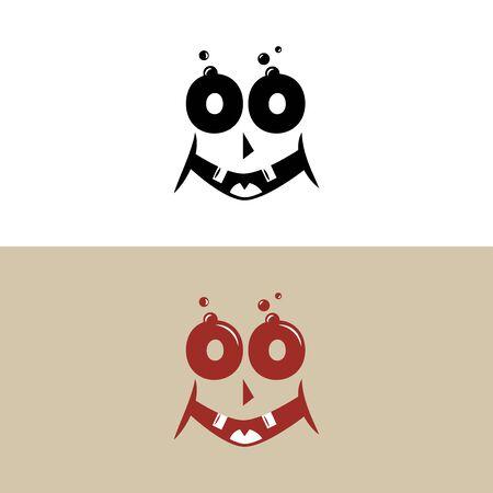 Monster happy face in retro style, smile vector illustration on white background. Reklamní fotografie - 129396556