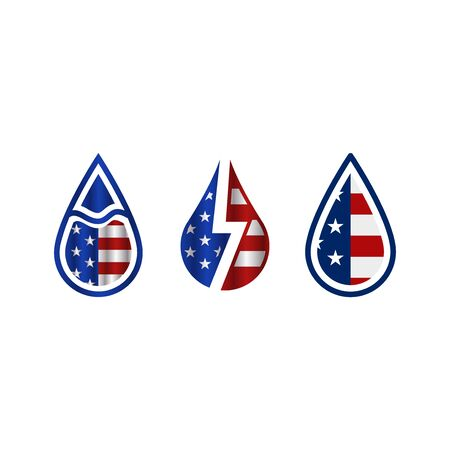 Drop with american flag flat icons on white background Ilustrace