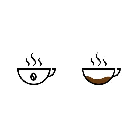 Two cups of coffee outline icons isolated on white background