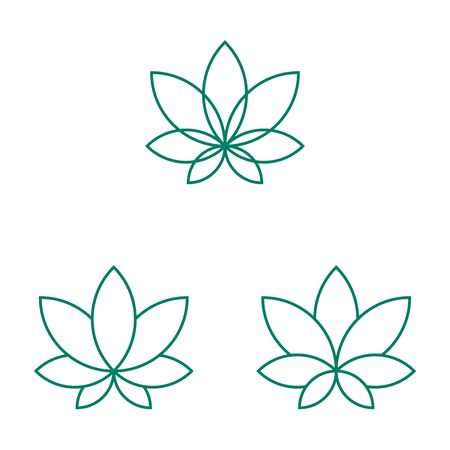 Cannabis leaf linear icons set on white background Reklamní fotografie - 129396566