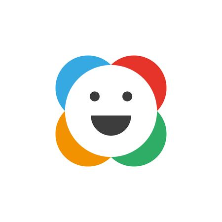Smiley with colorful circles on the back flat icon