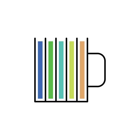 Cup with multicolored stripes icon in a linear style on a white background.