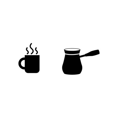 Cup with coffee and cezve for brewing coffee glyph icon on a white background
