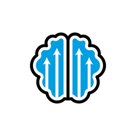 Brain with up arrows flat icon improving brain efficiency vector Illustration on a white background