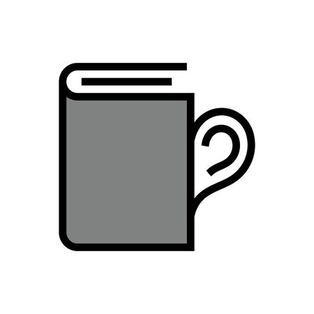 Cup book flat icon on white background Ilustrace