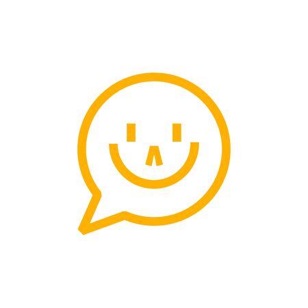 Smiley message outline icon on white background Reklamní fotografie - 129396609