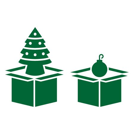 Christmas tree and ball for decorations in boxes icon on a white background